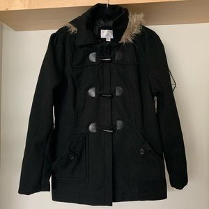 Xhileration Jacket with Faux Fur Hood XXL